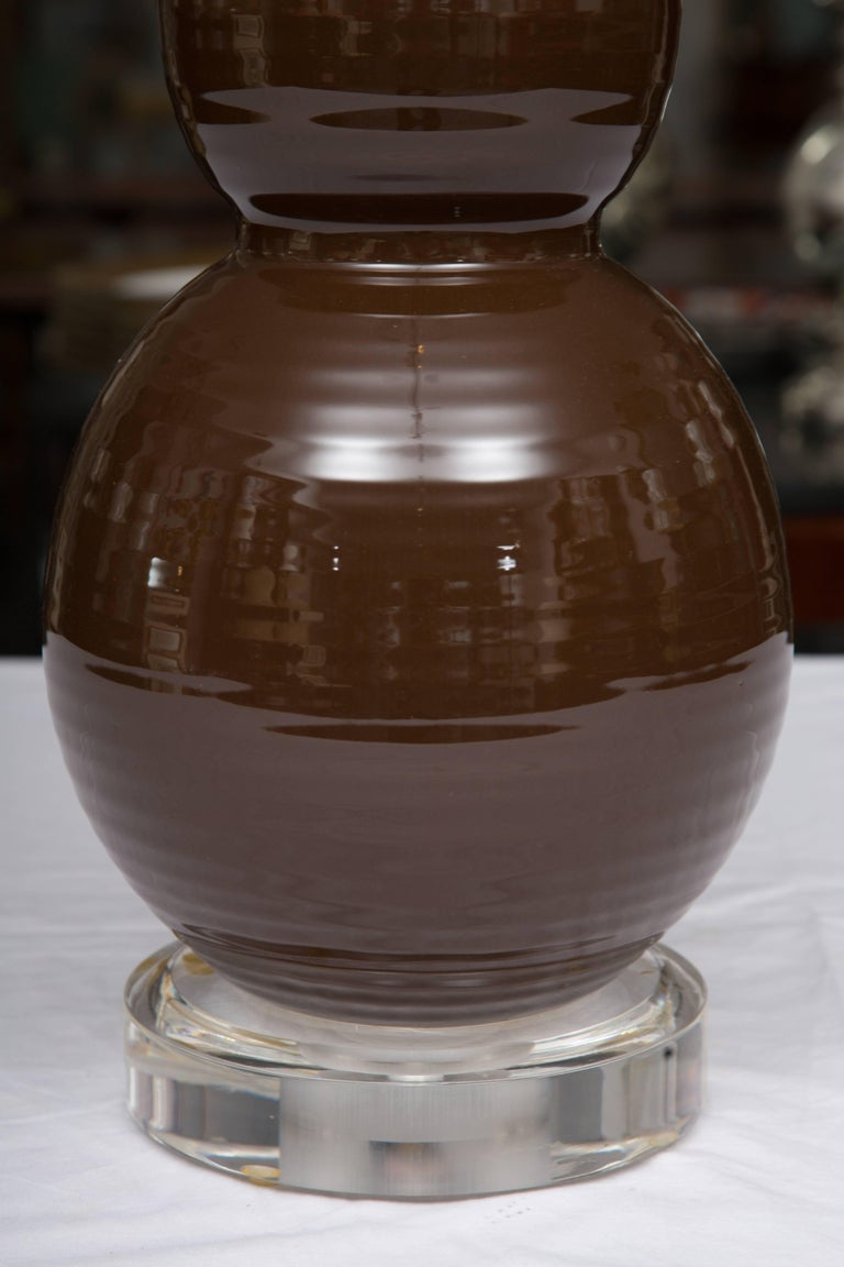 Pair of Chocolate Brown Double Gourd Table Lamps In Good Condition For Sale In WEST PALM BEACH, FL