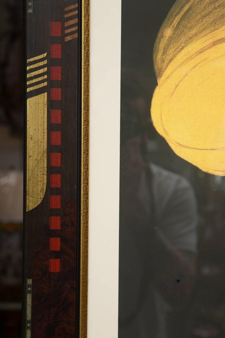 Other Large Framed Cinzano Poster in Unique Custom Frame For Sale