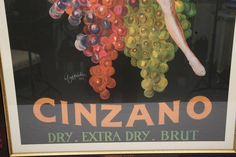 Wood Large Framed Cinzano Poster in Unique Custom Frame For Sale