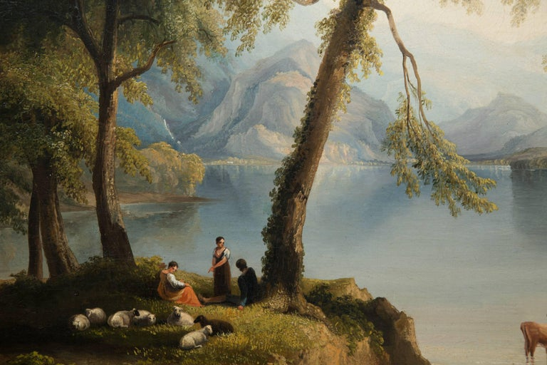 19th Century Oil on Canvas of Italian Landscape In Good Condition For Sale In WEST PALM BEACH, FL