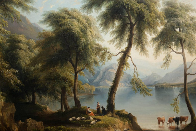 19th Century Oil on Canvas of Italian Landscape For Sale 2