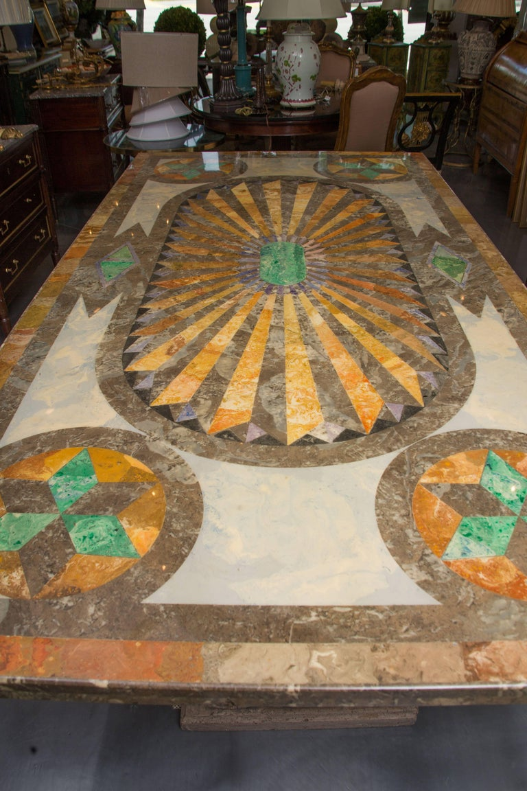 Painted Italian Scagliola Marble Table on Concrete Plinths For Sale