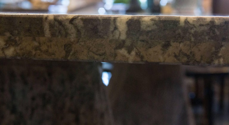 Italian Scagliola Marble Table on Concrete Plinths In Good Condition For Sale In WEST PALM BEACH, FL
