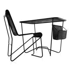 Exceptional Tit Mellil Desk and Chair by Mathieu Mategot, France, 1950s