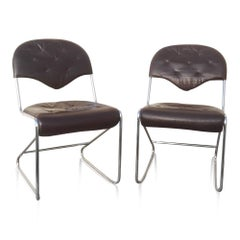 Pair of Chrome and Leather Chairs in the Style of Faleschini, Italy, 1970s
