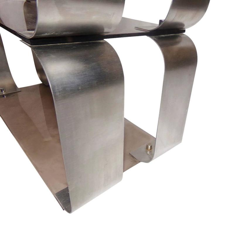 Single end tables or shelves unit. Stainless steel, smoked glass, chrome details. This item will ship from France (unit will be dissembled for safer shipping).