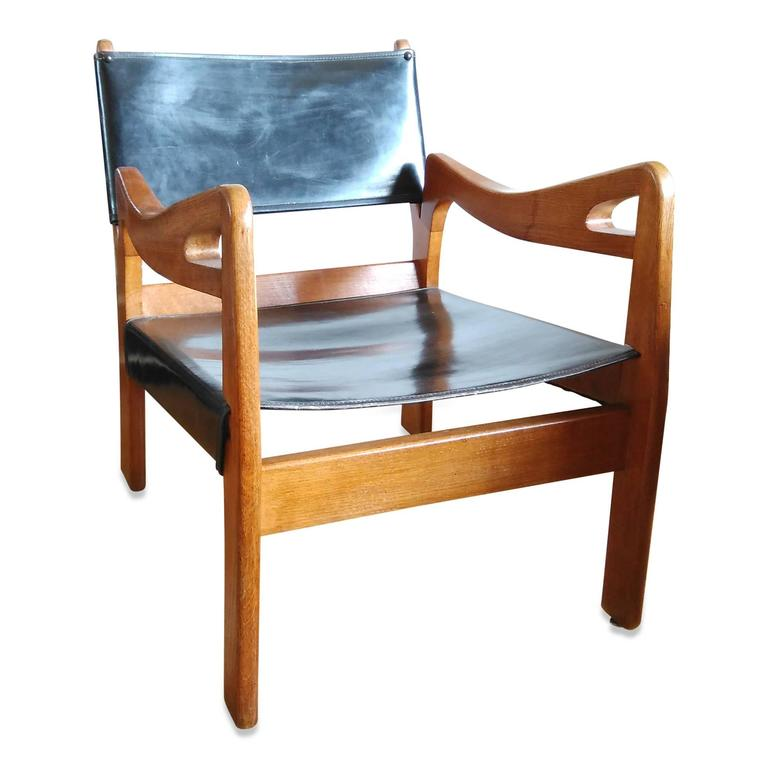 Mid-Century Modern Rare Solid Oak Armchair by Guillerme & Chambron, France, 1960s For Sale