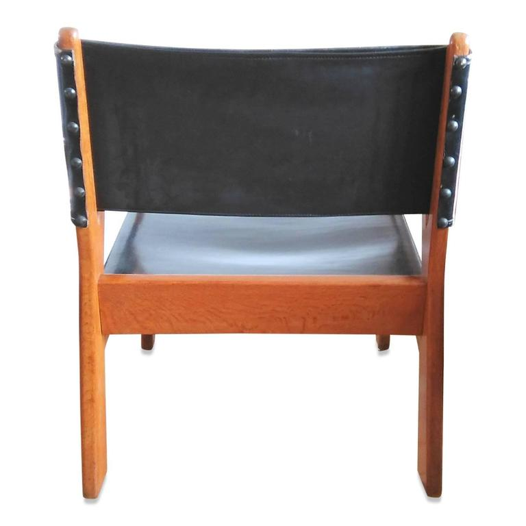 French Rare Solid Oak Armchair by Guillerme & Chambron, France, 1960s For Sale