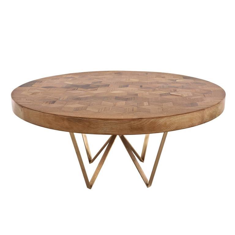 """Runder Tisch """"Maurits"""" aus dem Eichenholz alter italienischer Weinfässer mit Einlegearbeiten  1"""