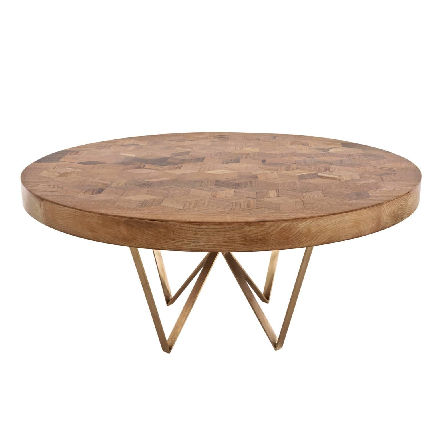 Maurits Round Marquetry Table in Reclaimed Oak with Brass Legs