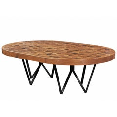 Maurits Oval Marquetry Table in Reclaimed Oak from Old Italian Wine Barrels