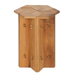 Mike Hexagonal Stool or Side Table in Reclaimed Oak with Butterfly Wingnuts