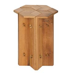 Mike Hexagonal Stool or Side Table in Reclaimed Oak with Butterfly Wingnuts