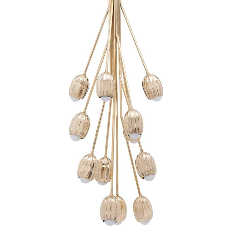 Poppy Chandelier in Lost Wax Cast Brass, 12 Stems 1