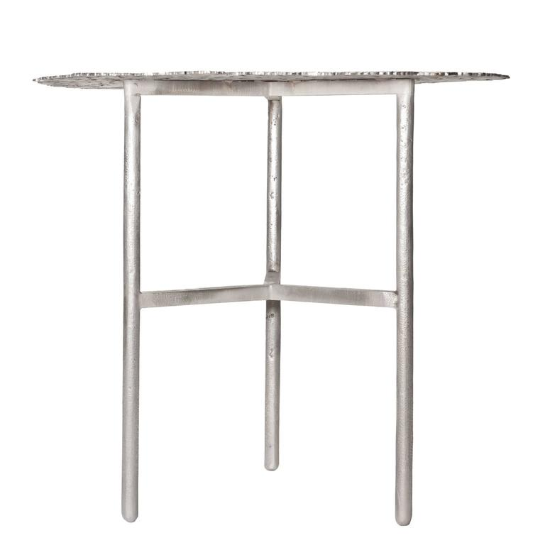Italian Jean White Bronze Lost Wax Cast Butterfly Indoor or Outdoor Side Table For Sale
