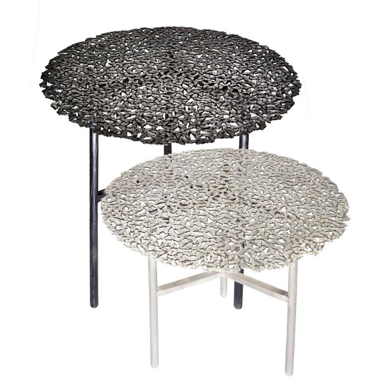 Contemporary Jean White Bronze Lost Wax Cast Butterfly Indoor or Outdoor Side Table For Sale