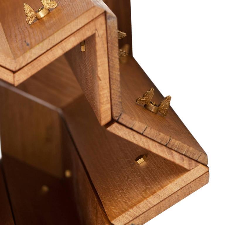 Italian Mike Hexagonal Stool or Side Table in Reclaimed Oak with Butterfly Wingnuts For Sale