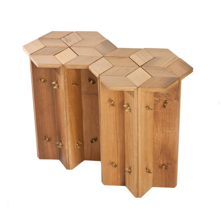 Contemporary Mike Hexagonal Stool or Side Table in Reclaimed Oak with Butterfly Wingnuts For Sale
