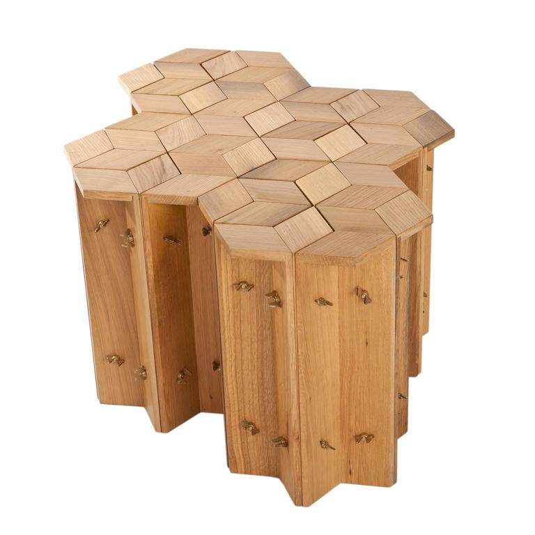 Mike Hexagonal Stool or Side Table in Reclaimed Oak with Butterfly Wingnuts For Sale 1