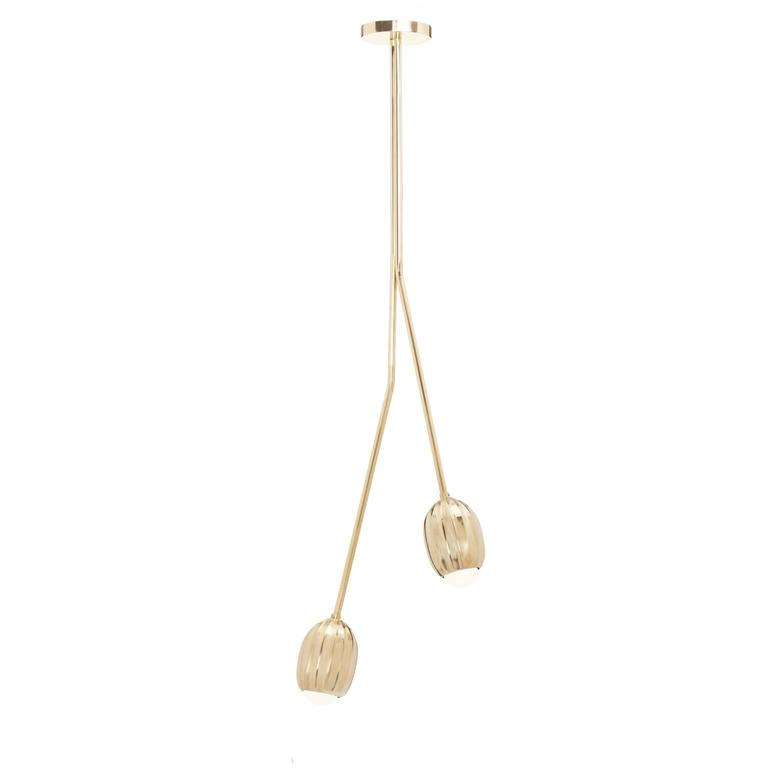 Combining stems that carry the blooming buds, from a couple that looks simply poetic, up to a whole bouquet that appears extravagantly scenic. Lost wax cast by master craftsmen in Tuscany, Italy.  This listing is for a brass chandelier composed of