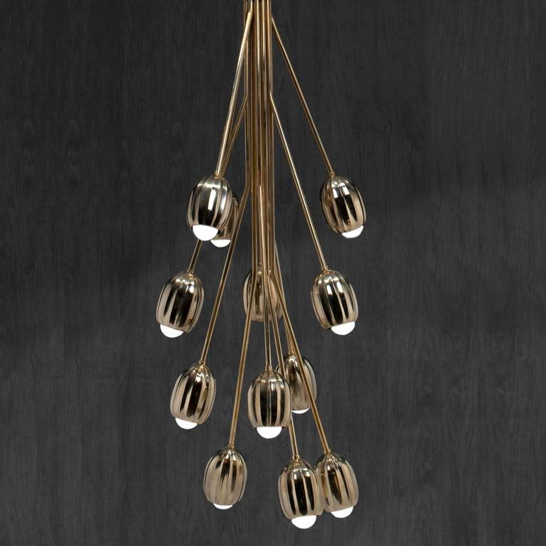 Poppy Chandelier in Lost Wax Cast Brass, 12 Stems 2