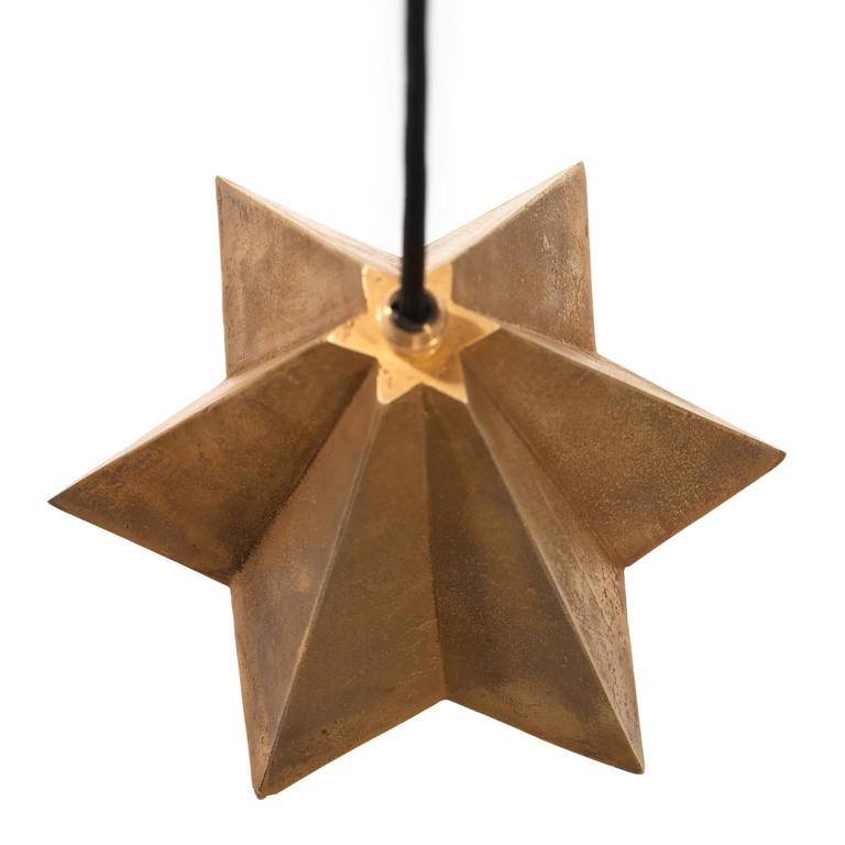 Italian Raffaele Star-Shaped Pendant Light in Sand Cast Brass For Sale