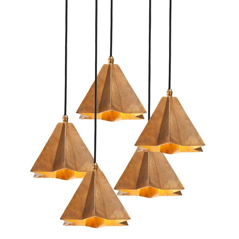 Contemporary Raffaele Star-Shaped Pendant Light in Sand Cast Brass For Sale