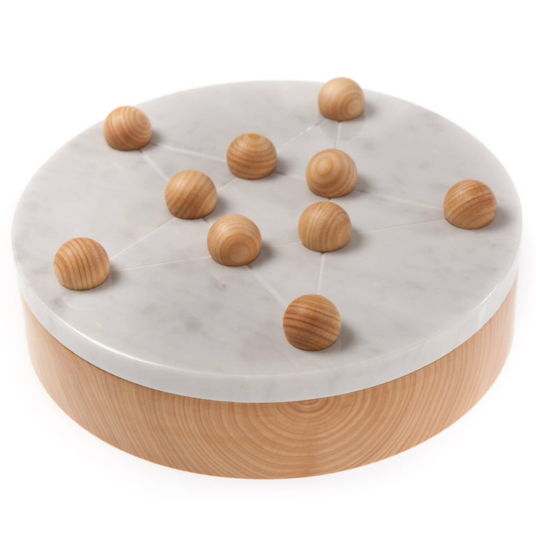Modern Cornelius Candleholder, Solitary Game and Centerpiece in White Marble and Wood For Sale