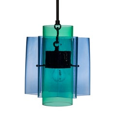 Petrona Star-Shaped Pendant Light in Blue and Green Mouth Blown Glass