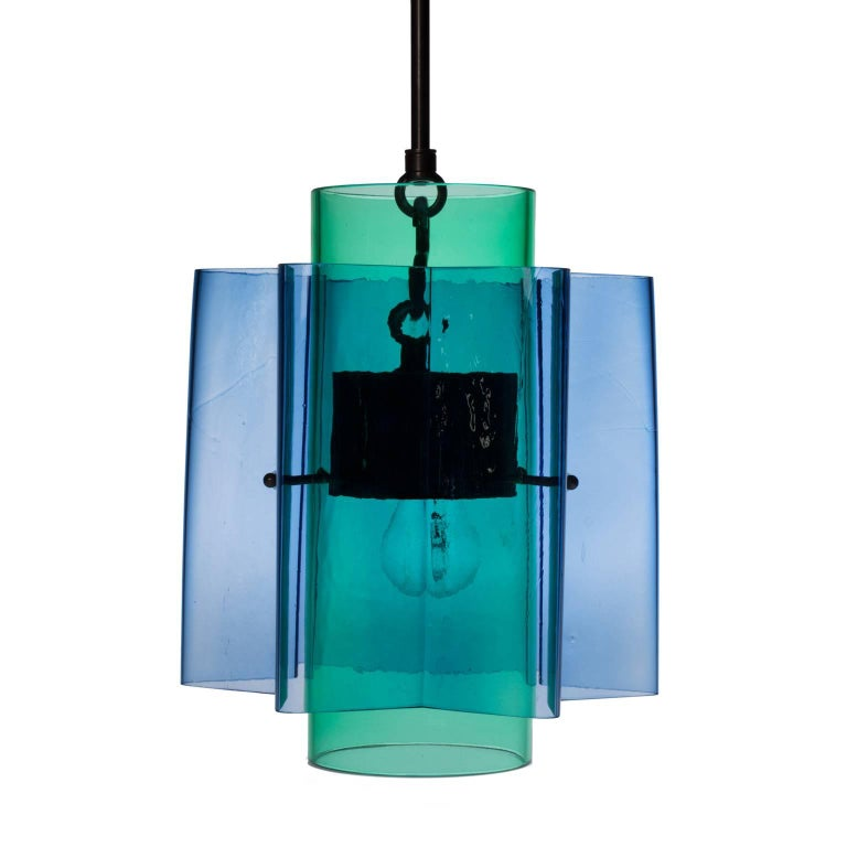 Petrona Colored Star-Shaped Pendant Chandelier in Blue and Green Blown Glass For Sale