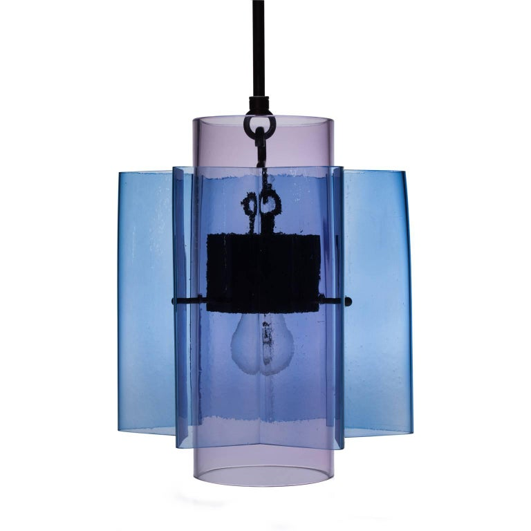 Contemporary Petrona Colored Star-Shaped Pendant Chandelier in Blue and Green Blown Glass For Sale