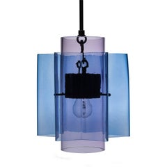 Petrona Colored Star-Shaped Pendant Chandelier in Blue and Purple Blown Glass