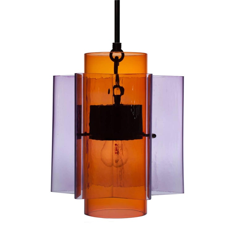 Petrona Star-Shaped Pendant Light in Blue and Purple Mouthblown Glass For Sale 2