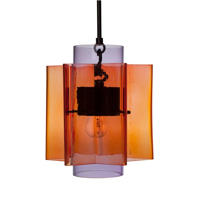 Petrona Star-Shaped Pendant Light in Red and Purple Mouthblown Glass