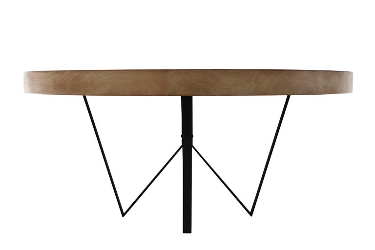 Modern Maurits Round Marquetry Table in Reclaimed Oak from Old Italian Wine Barrels For Sale