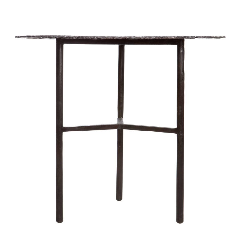Italian Jean Blackened Brass Lost Wax Cast Butterfly Indoor or Outdoor Side Table For Sale
