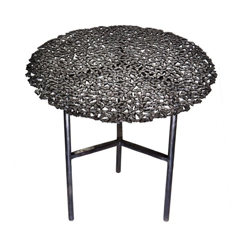 Jean Blackened Brass Lost Wax Cast Butterfly Indoor or Outdoor Side Table In New Condition For Sale In Fiesole, Florence