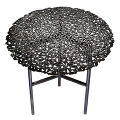 Jean Blackened Brass Lost Wax Cast Butterfly Indoor or Outdoor Side Table