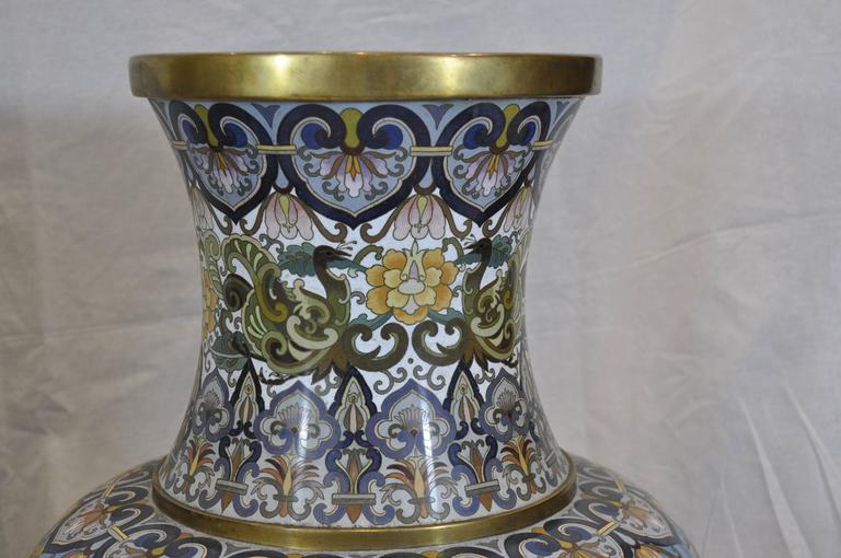 Cloissoné Pair of Early 20th Century Chinese Ormolu-Mounted Polychrome Cloisonné Vases For Sale