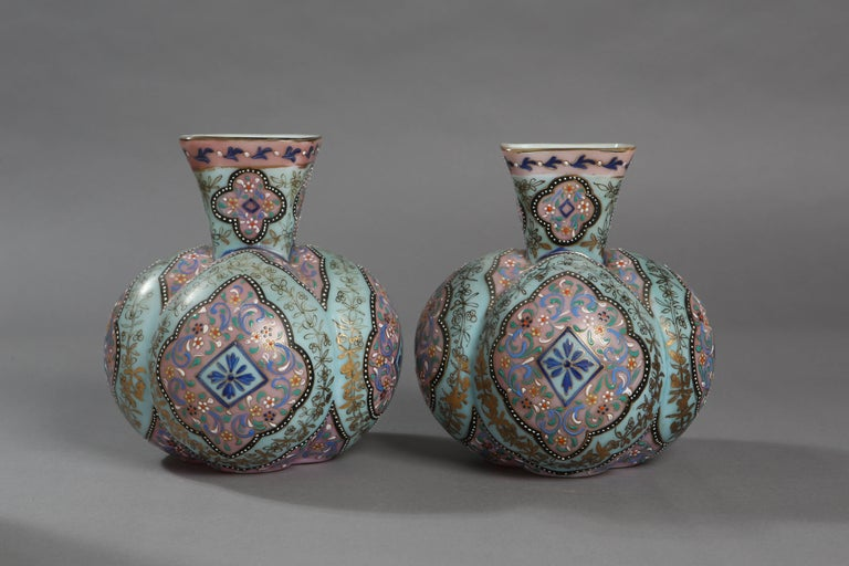Beautiful 19th Century Collection Of Opaline Glass Vases With Enamel