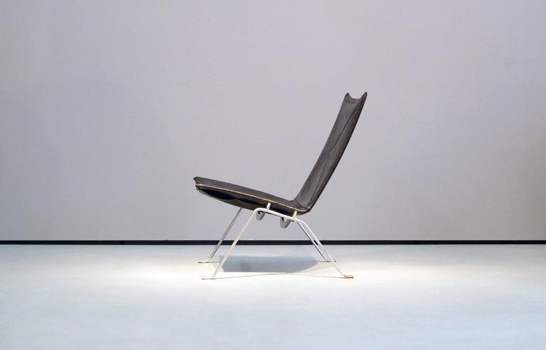 Poul Kjaerholm PK22 Easy Chair E. Kold Christensen, 1960s, Denmark Black Leather 2