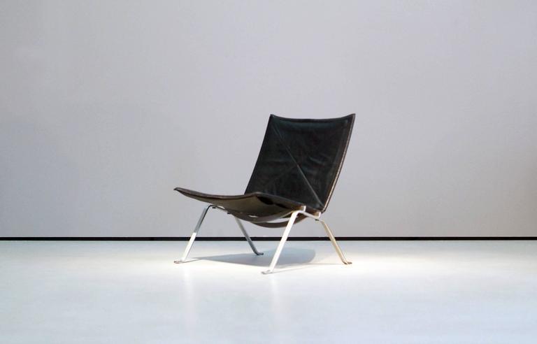 Poul Kjaerholm PK22 Easy Chair E. Kold Christensen, 1960s, Denmark Black Leather 6