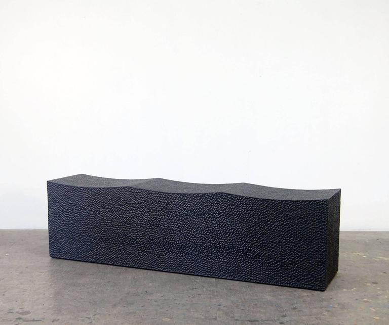 Block Bench for Three carved + blackened + maple 17