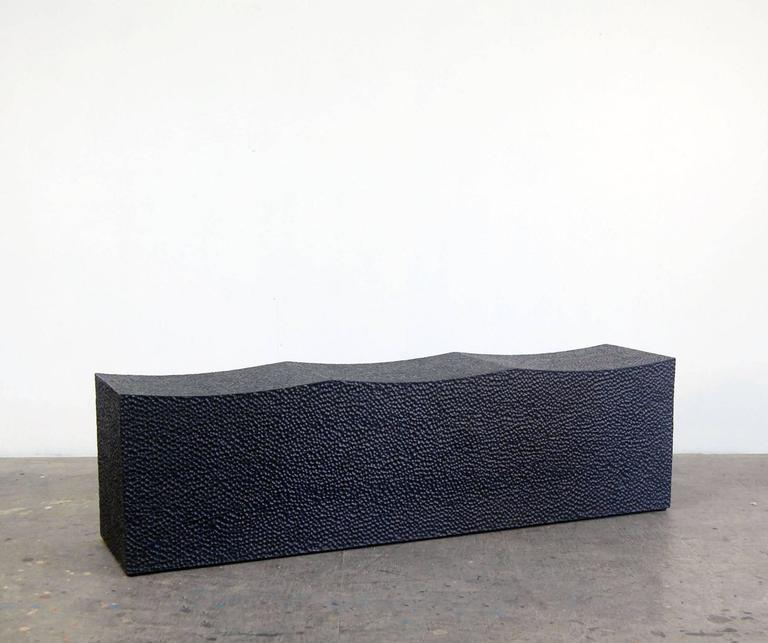 Minimalist Block Bench for Three  For Sale