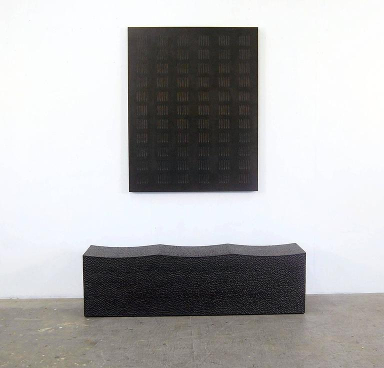 Blackened Block Bench for Three  For Sale