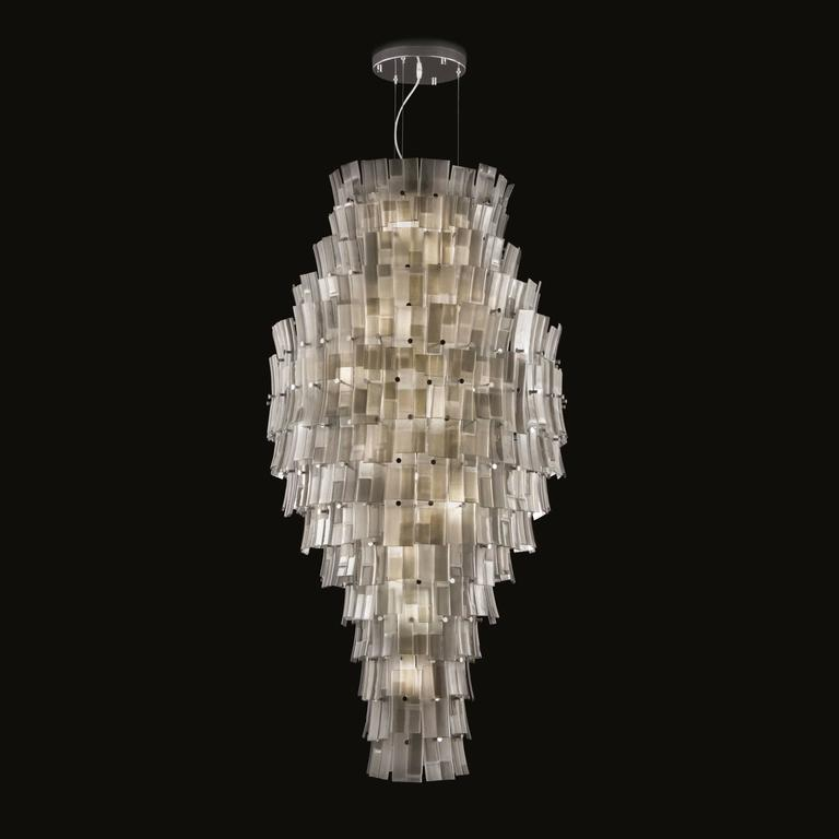 Italian modern Murano glass chandelier shown in shades of grey and chrome hardware 22 lights / G9 type / max 20W each  Diameter: 33.5 inches / Height: 65 inches Order Only / Made in Italy  Please inquire for custom orders / pricing / current lead