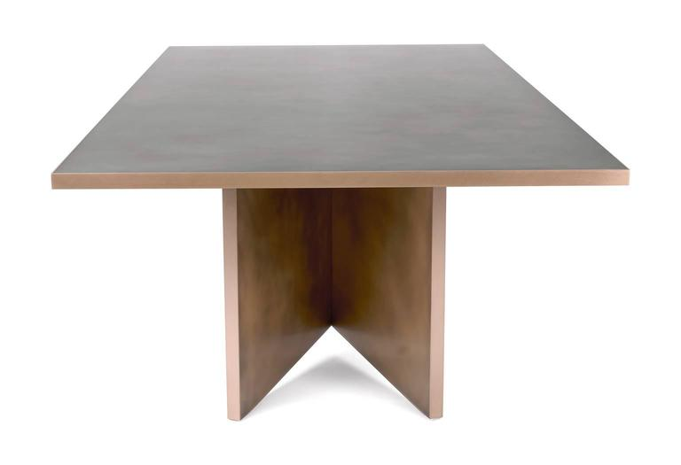 Contemporary Vega Dining Table, Customizable Metal and Dimensions For Sale