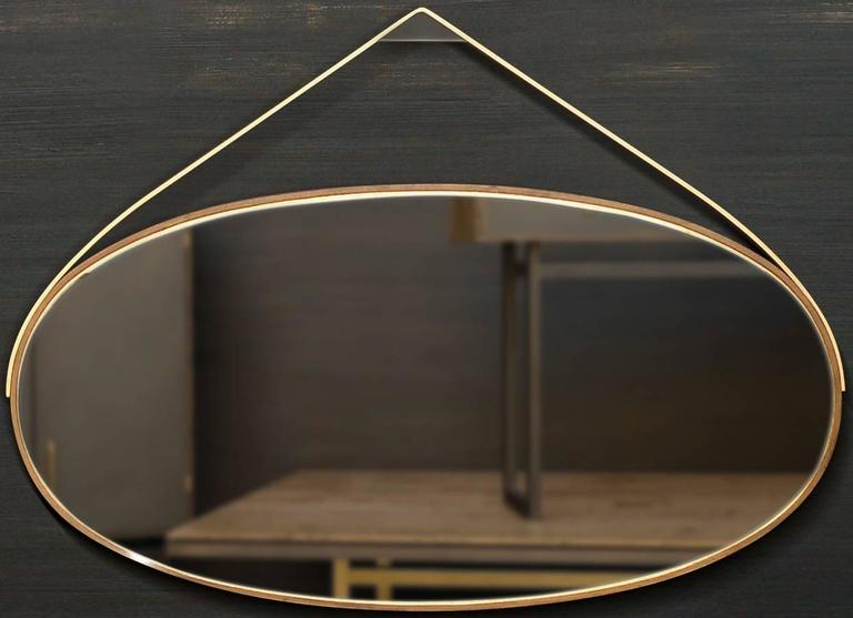 Modern Gotham Oval Mirror -  Customizable Wood and Metal  For Sale