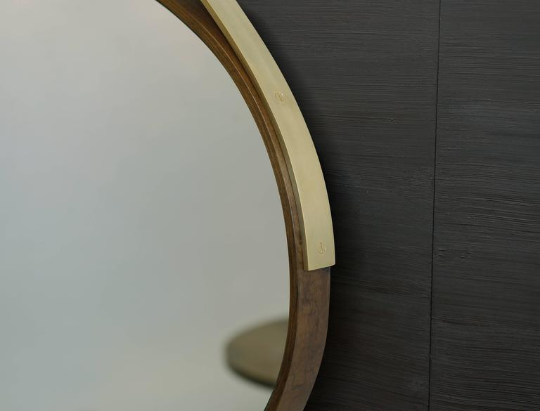 American Gotham Oval Mirror -  Customizable Wood and Metal  For Sale