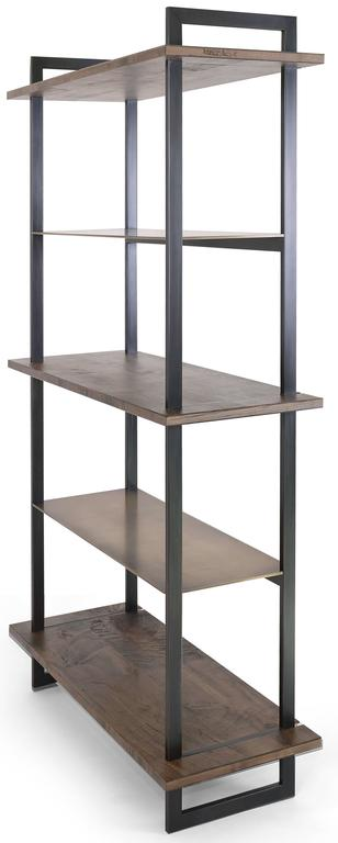 The elegant and striking Gotham bookcase features alternating oxidized Ambrosia maple and burnished bronze shelves with a blackened steel frame.  One available in-stock: W 42 in. / D 18 in. / H 84 in.  Standard size options - 10-12 week lead